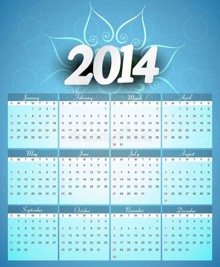 Ejemplo creativo colorido del diseño del calendario 2014 ilustración del vector