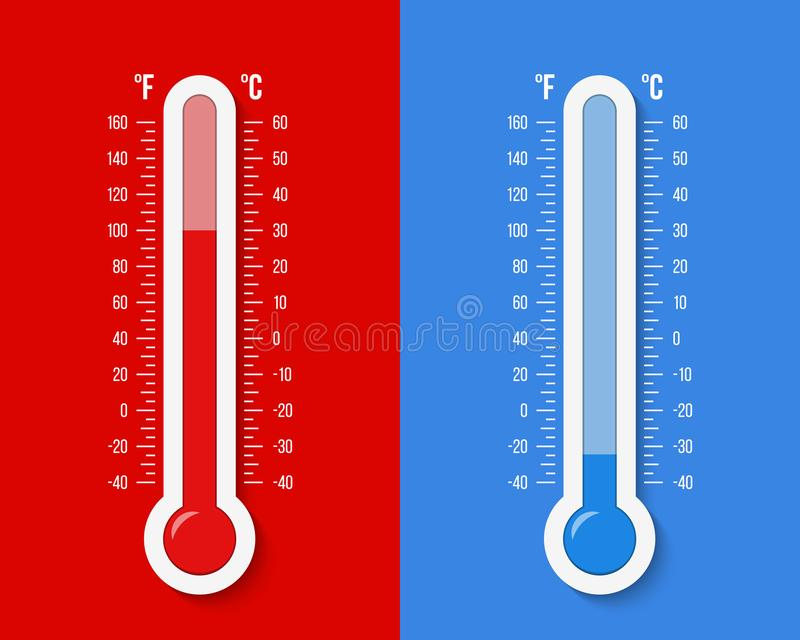 Ejemplo creativo de celsius, escala de los term?metros de la meteorolog?a de Fahrenheit aislada en fondo Calor, muestras caliente foto de archivo