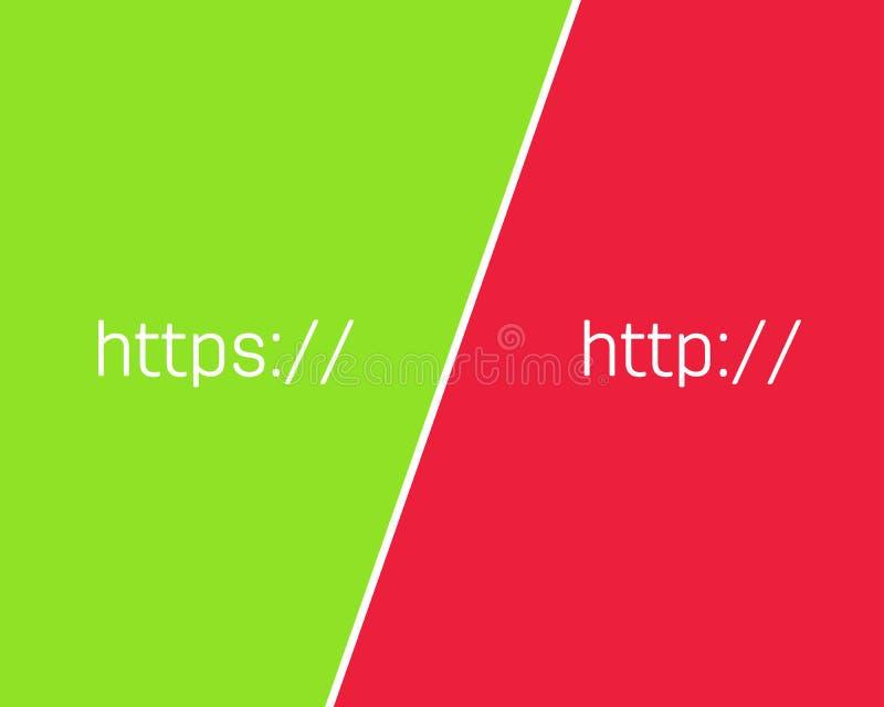 Ejemplo creativo de HTTP, sitio web de la encripción del SSL de la conexión del protocolo de los https aislado en fondo Caja fuer stock de ilustración