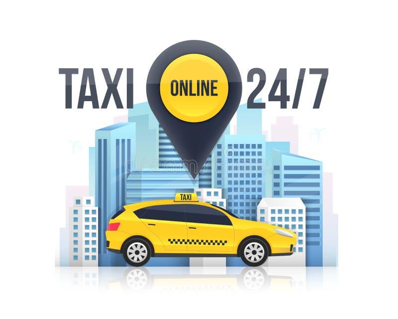 Ejemplo creativo de la bandera del servicio online del taxi, rascacielos urbanos de la ciudad aislados en fondo Plantilla m?vil d foto de archivo