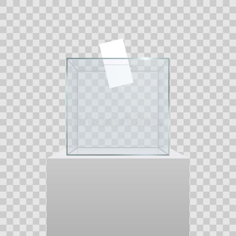 Ejemplo creativo de la urna transparente vacía realista con el papel de votación en el agujero aislado en fondo Desig del arte libre illustration