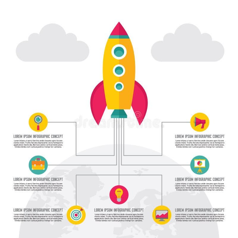 Ejemplo creativo de lanzamiento - iconos del vector fijados en estilo plano del diseño stock de ilustración