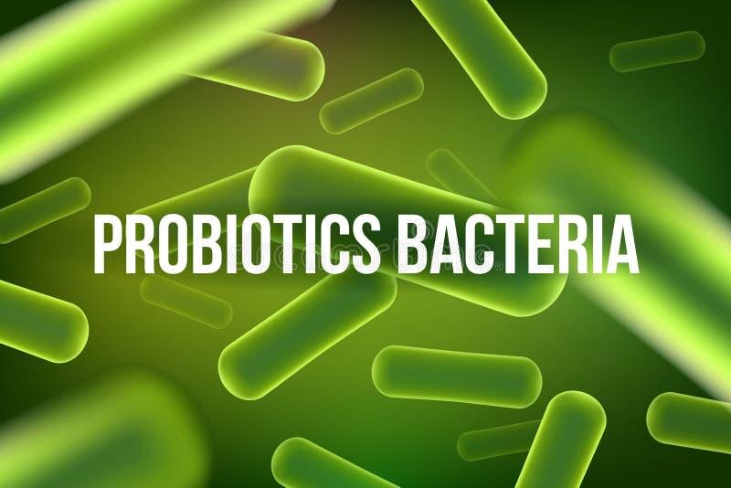Ejemplo creativo de las bacterias del probiotics aisladas en fondo Primer microscópico de las bacterias del diseño del arte Healt stock de ilustración
