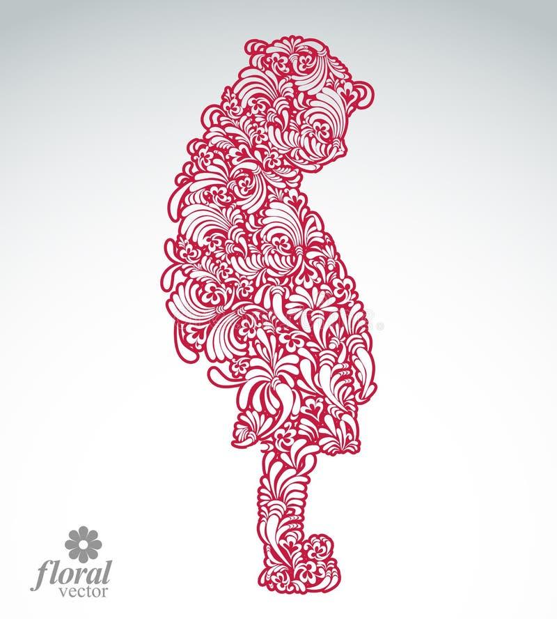 Ejemplo creativo de una muchacha tímida con un pelo largo Teena lindo stock de ilustración
