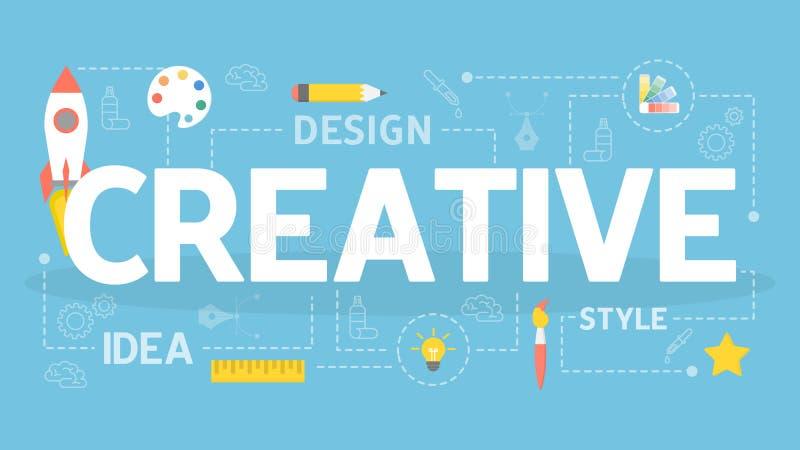 Ejemplo creativo del concepto Idea del pensamiento creativo stock de ilustración