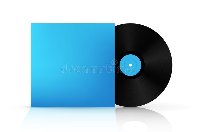 Ejemplo creativo del disco realista del disco de vinilo en la caja de papel del caso aislada en fondo Front View Espacio en blanc libre illustration
