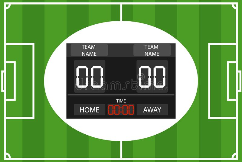 Ejemplo creativo del fútbol, marcador mecánico del vector del fútbol Marcador electrónico de los deportes del estadio con tiempo  ilustración del vector