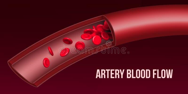 Ejemplo creativo del flujo de corriente rojo de los glóbulos de la arteria, buque médico microbiológico del vector del eritrocito stock de ilustración