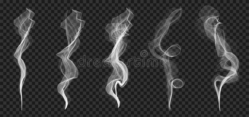 Ejemplo creativo del sistema blanco delicado de la textura de las ondas del humo del cigarrillo aislado en fondo transparente Dis libre illustration