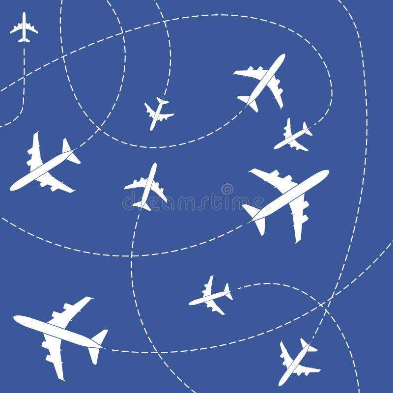 Ejemplo creativo del vector del avión con las líneas rayadas de la trayectoria aisladas en fondo Ruta del cielo del aeroplano del stock de ilustración