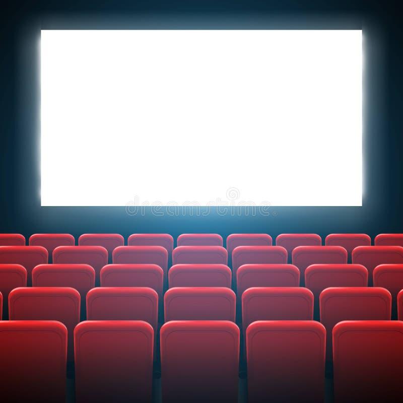 Ejemplo creativo del vector del bastidor de pantalla del cine de la película y del interior del teatro Fondo del cartel de la pre libre illustration