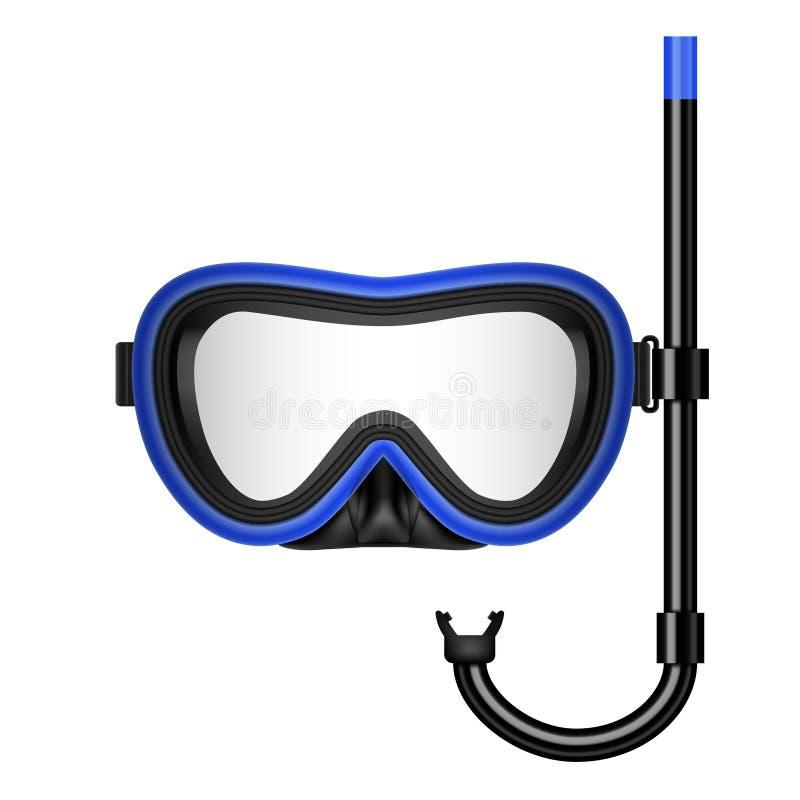 Ejemplo creativo del vector del buceo con escafandra, máscara que nada con el tubo respirador, gafas, aletas aisladas en transpar libre illustration