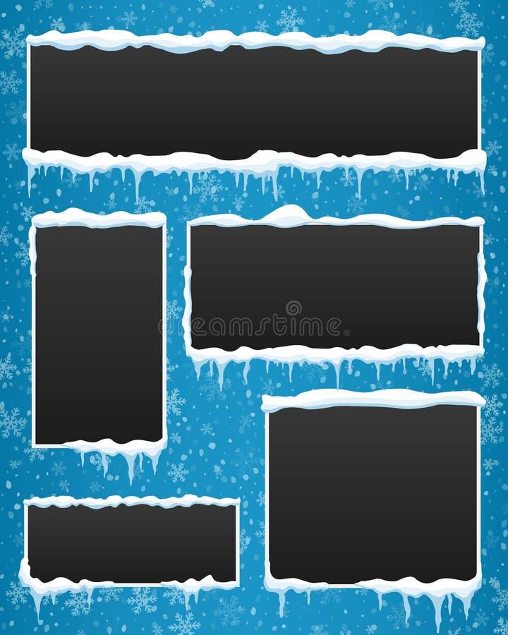 Ejemplo creativo del vector de la bandera del invierno del carámbano aislada en fondo Pilas de la nieve del diseño del arte Eleme ilustración del vector