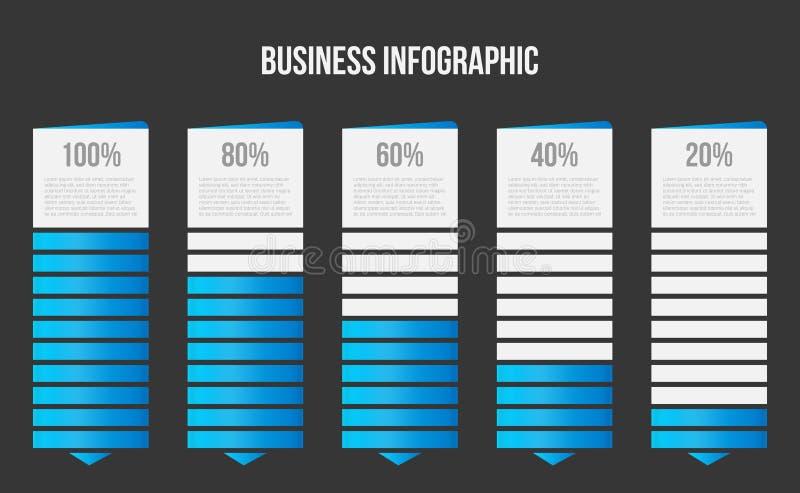 Ejemplo creativo del vector de la carta de barra de las columnas, infographic de la tabla de la comparación aislada en fondo tran stock de ilustración
