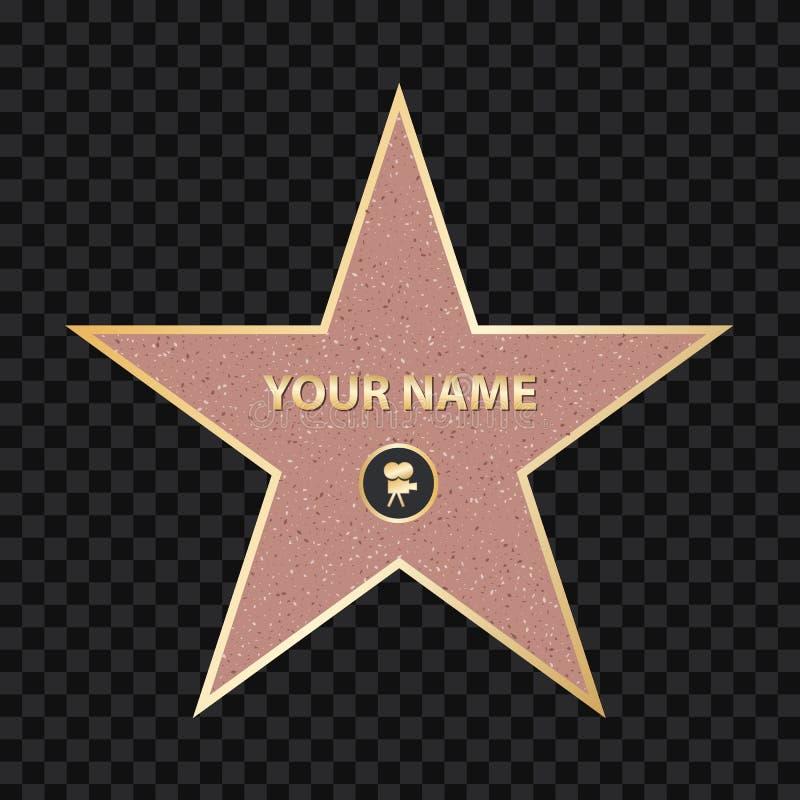 Ejemplo creativo del vector de la estrella del actor famoso de la acera Paseo de Hollywood del diseño del arte de la fama Gráfico stock de ilustración