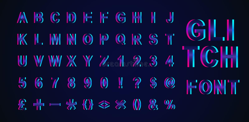 Ejemplo creativo del vector de la fuente isométrica de la interferencia moderna de la tendencia aislada en fondo Alfabeto del dis libre illustration