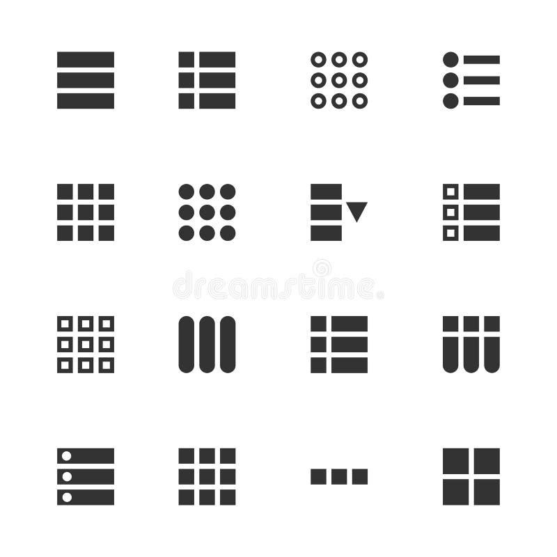 Ejemplo creativo del vector de la hamburguesa UI, iconos de la navegación de la interfaz de usuario del menú de UX aislados en fo libre illustration