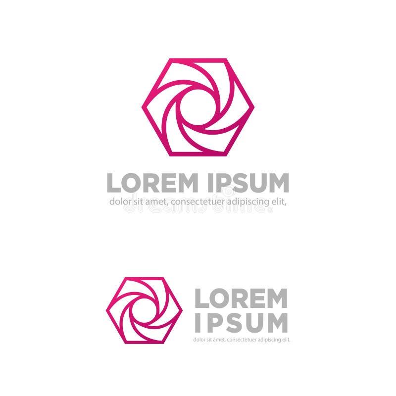 ejemplo creativo del vector de la plantilla del logotipo de la fotografía del hexágono libre illustration