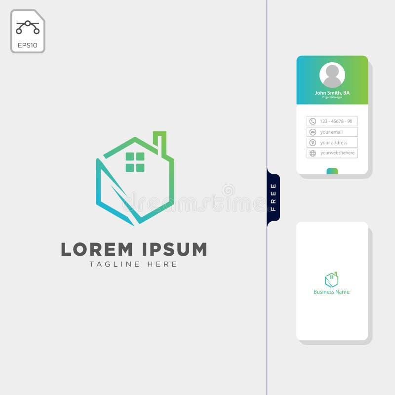 ejemplo creativo del vector de la plantilla del logotipo de las propiedades inmobiliarias del hexágono, diseño libre de la tarjet libre illustration