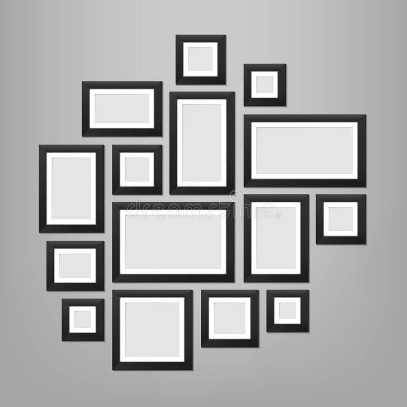 Ejemplo creativo del vector de la plantilla de los marcos de la pared aislada en fondo Foto del espacio en blanco del diseño del  stock de ilustración