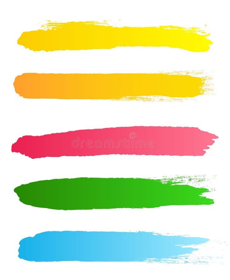 Ejemplo creativo del vector de los movimientos ásperos del cepillo del negro del grunge aislados en fondo Manchas del diseño del  stock de ilustración