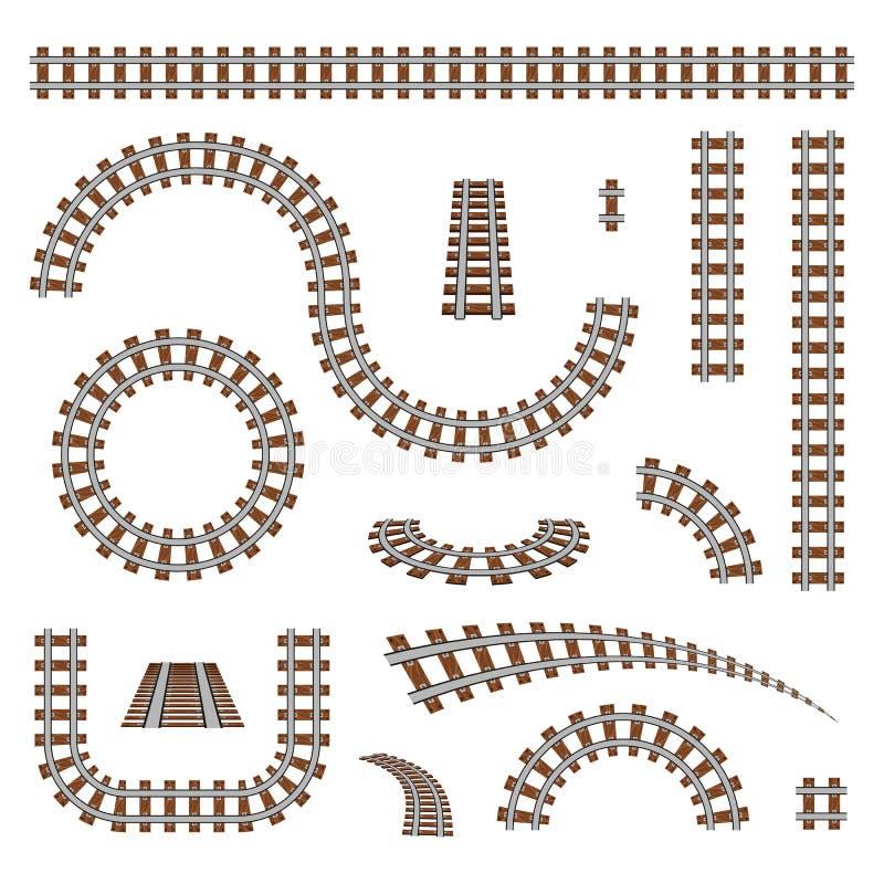 Ejemplo creativo del vector del ferrocarril curvado aislado en fondo Diseño recto del arte de las pistas Poseer el apartadero fer stock de ilustración
