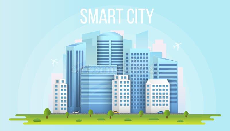 Ejemplo creativo del vector del paisaje urbano de la ciudad elegante aislado en fondo transparente Medios sociales del diseño del ilustración del vector