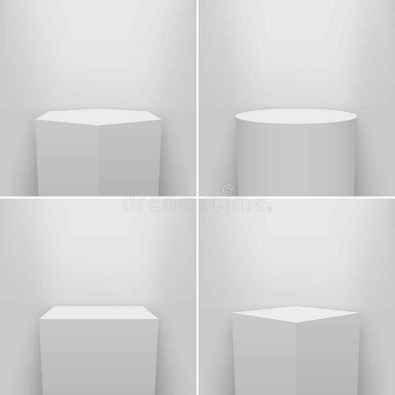 Ejemplo creativo del vector del pedestal del museo, etapa, sistema del podio 3d aislado en fondo transparente Templat del espacio ilustración del vector