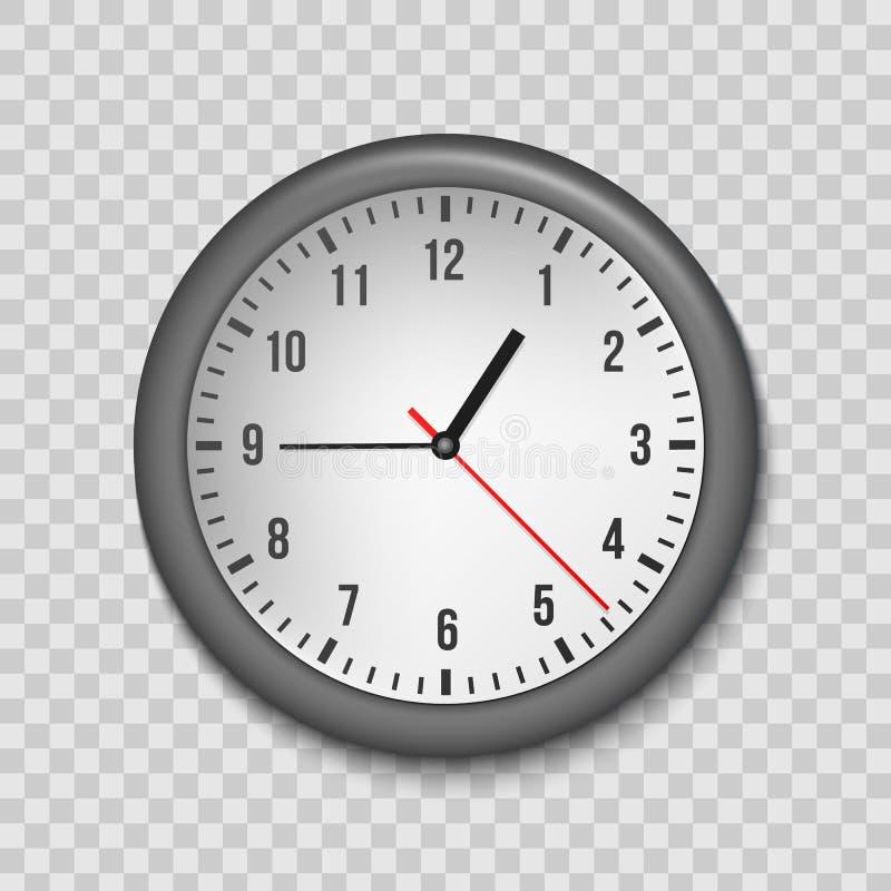 Ejemplo creativo del vector del reloj clásico simple de la oficina de la pared de la visión superior aislado en fondo transparent ilustración del vector