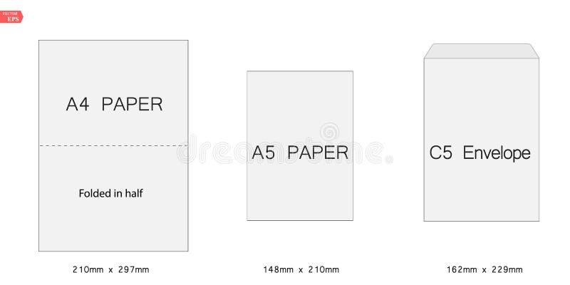 Ejemplo creativo del vector del sistema blanco de la plantilla de los sobres del papel en blanco C5 aislado en el fondo blanco in libre illustration