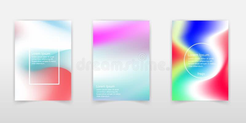 Ejemplo creativo del vector del sistema olográfico en colores pastel de moda del fondo Diseño del arte para la cubierta, folleto, stock de ilustración