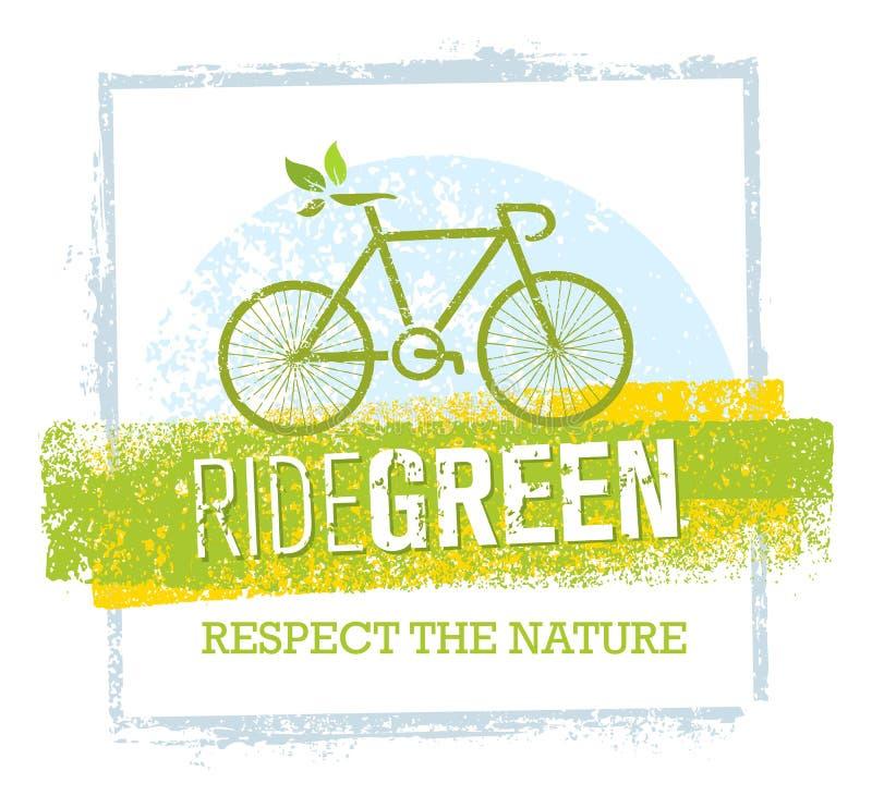 Ejemplo creativo verde de la bicicleta del vector de Eco del paseo en fondo de papel reciclado libre illustration