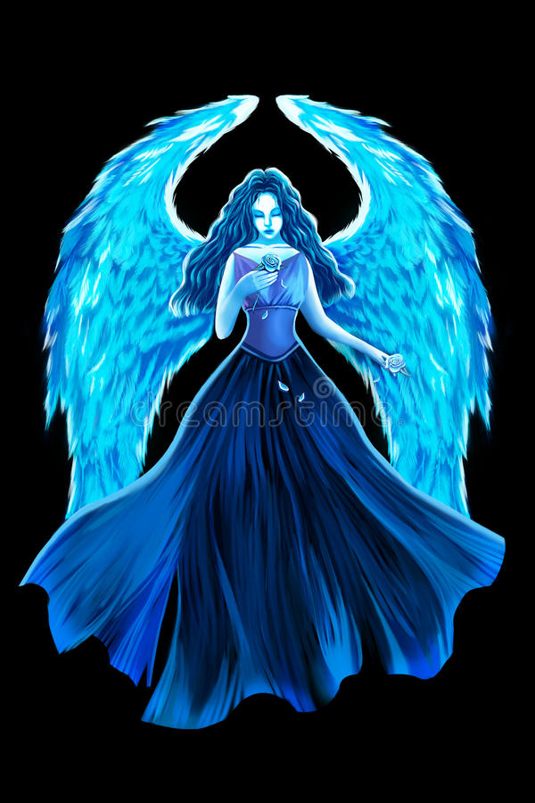 Ejemplo creativo y arte innovador: Ángel azul y Rose libre illustration
