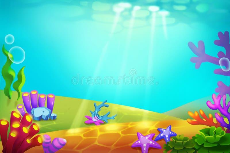 Ejemplo creativo y arte innovador: Belleza caprichosa de un mundo subacuático desconocido ilustración del vector