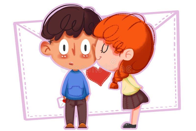 Ejemplo creativo y arte innovador: El besarse feliz, muchacho y muchacha del día de tarjeta del día de San Valentín stock de ilustración