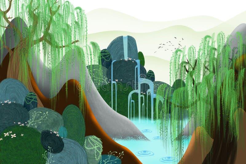 Ejemplo creativo y arte innovador: La primavera viene stock de ilustración
