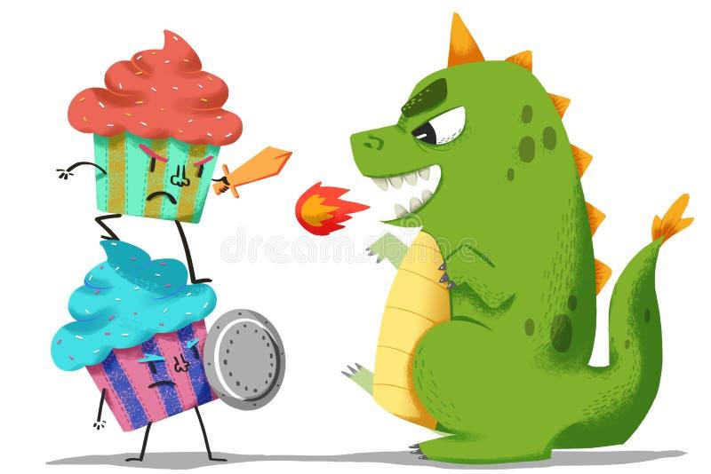 Ejemplo creativo y arte innovador: Lucha de los guardas del helado con el monstruo del dinosaurio stock de ilustración