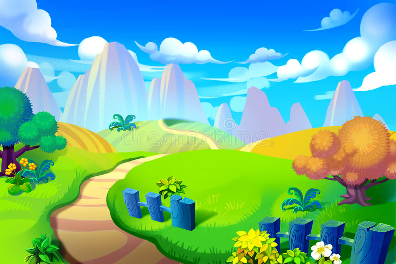 Ejemplo creativo y arte innovador: Manera a la montaña stock de ilustración