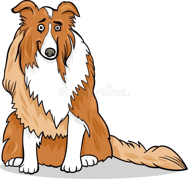 Ejemplo criado en línea pura de la historieta del perro del collie stock de ilustración