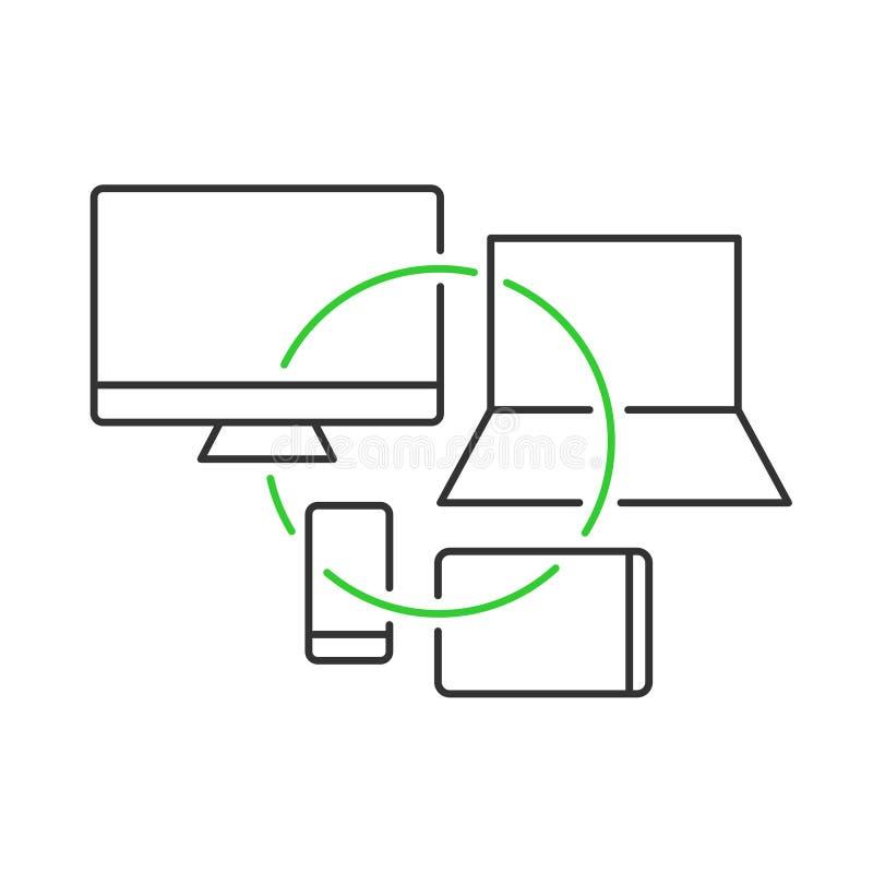 Ejemplo cruzado del concepto de los dispositivos de la plataforma Símbolo del desarrollo de Crossplatform ilustración del vector