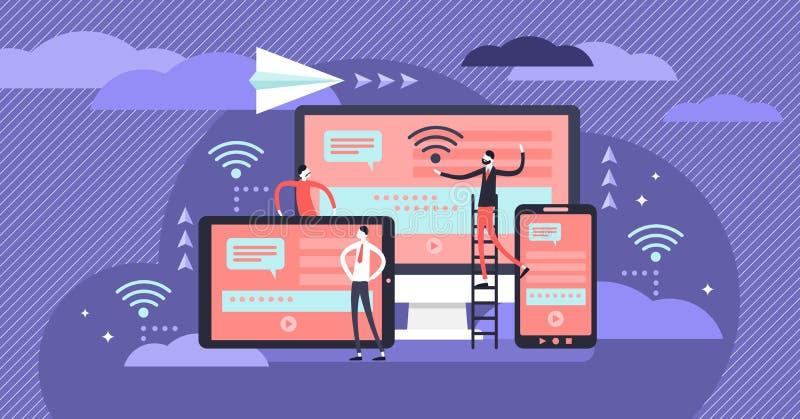 Ejemplo cruzado del vector de la plataforma Concepto minúsculo plano de la persona del uso de las TIC libre illustration