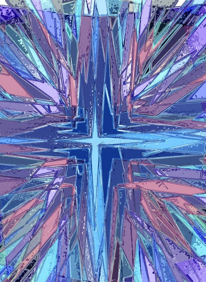 Ejemplo cruzado religioso del vitral ilustración del vector