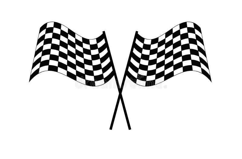 Ejemplo a cuadros EPS10 del vector del icono del final del comienzo de la bandera de la raza stock de ilustración
