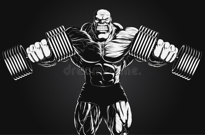 Ejemplo: culturista con pesa de gimnasia stock de ilustración