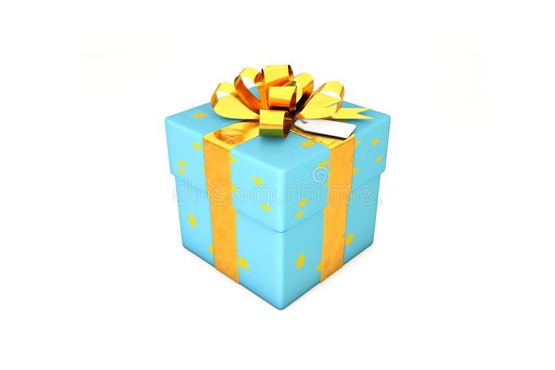 ejemplo 3d: Caja de regalo azul clara con la estrella amarilla, la cinta de oro del metal/el arco y la etiqueta en un fondo blanc stock de ilustración
