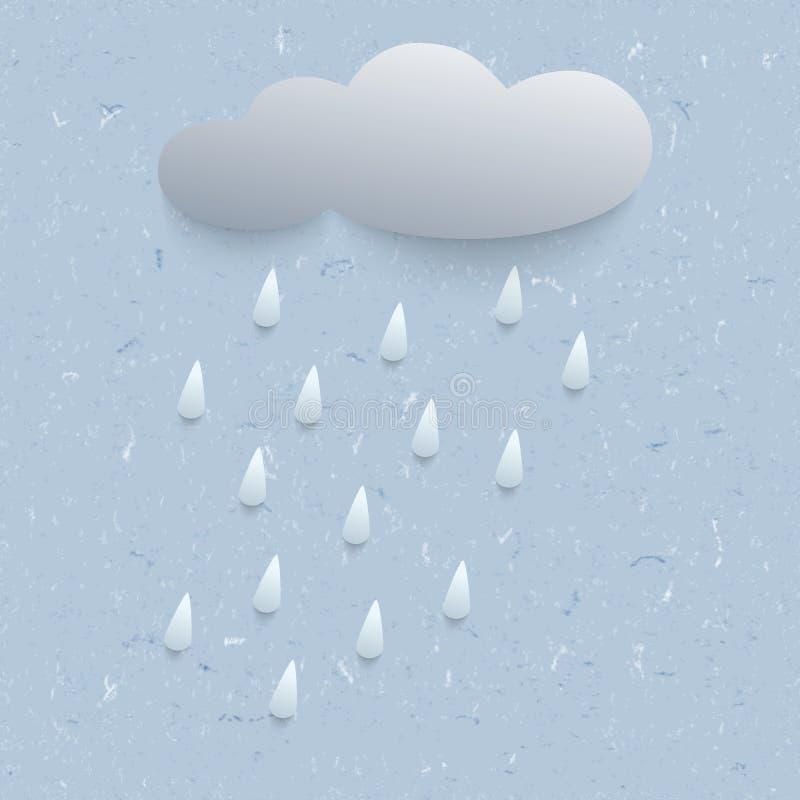 ejemplo 3d con lluvia y la nube libre illustration