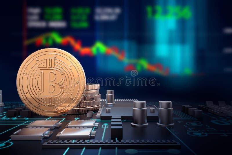 ejemplo 3d de bitcoins de oro en la placa madre del ordenador libre illustration