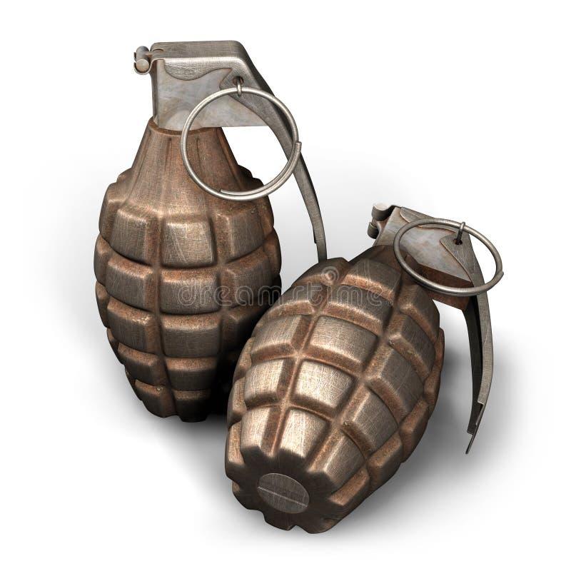 ejemplo 3D de dos granadas de mano MK2 en el fondo blanco libre illustration