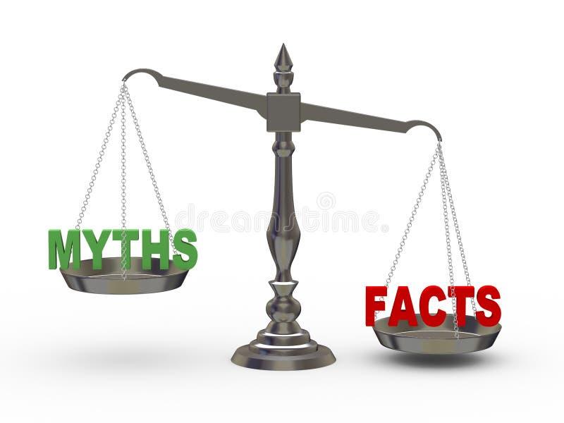hechos 3d y mitos en escala stock de ilustración