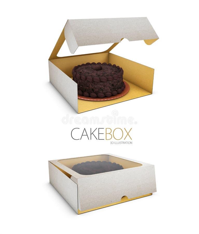 ejemplo 3d de la caja de papel abierta y cercana para las galletas o las tortas en el fondo blanco stock de ilustración